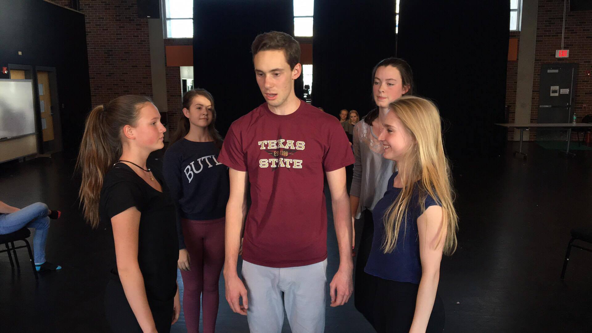 The ensemble and Pippin practicing during rehearsals.