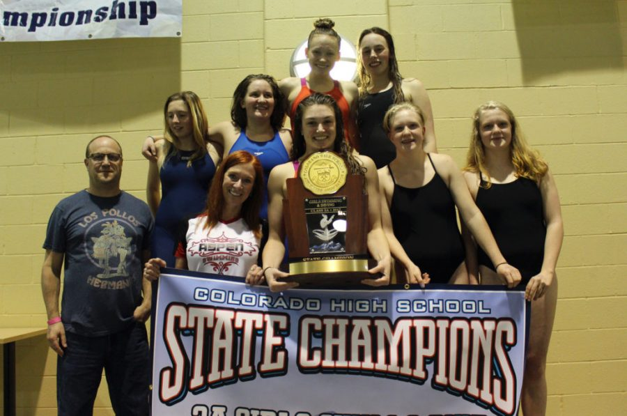 AHS+girls+swim+team+poses+with+banner+and+trophy+