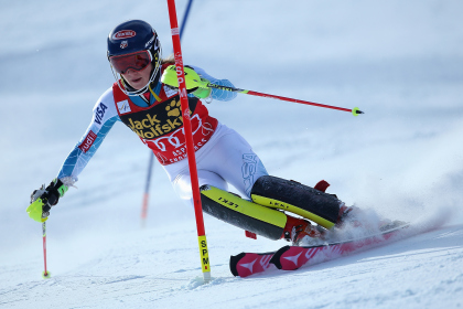 U.S. racer, Mikaela Shiffrin, on her way to winning a Slalom race in Aspen in 2015.