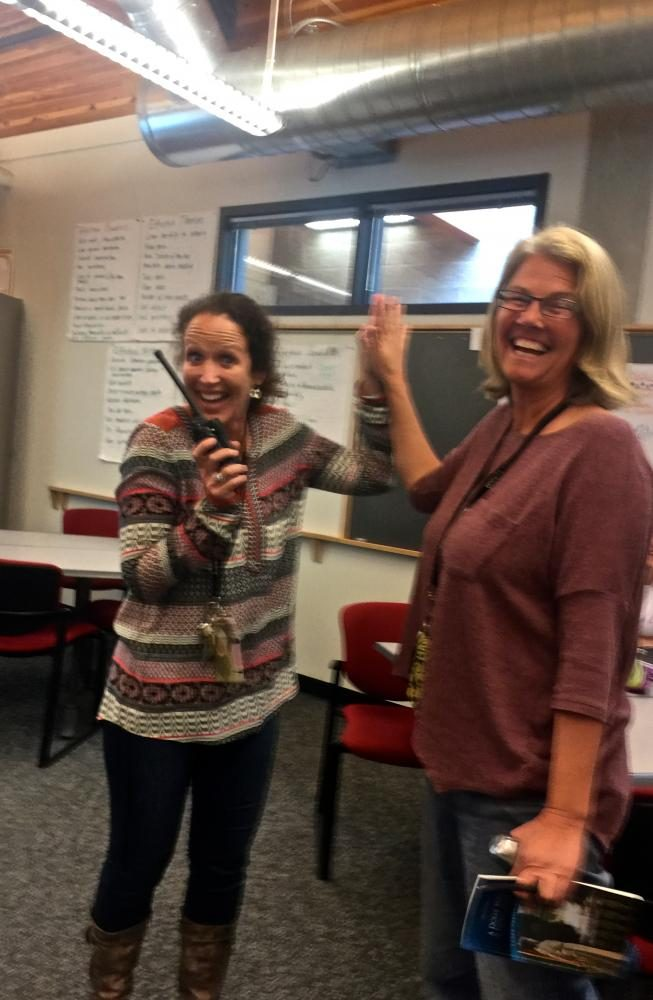 Left%3A+Assistant+Principal+Sarah+Strassburger+says+hello+to+co-worker%2C+IB+English+teacher+Cerena+Thomsen.+%0A%0A