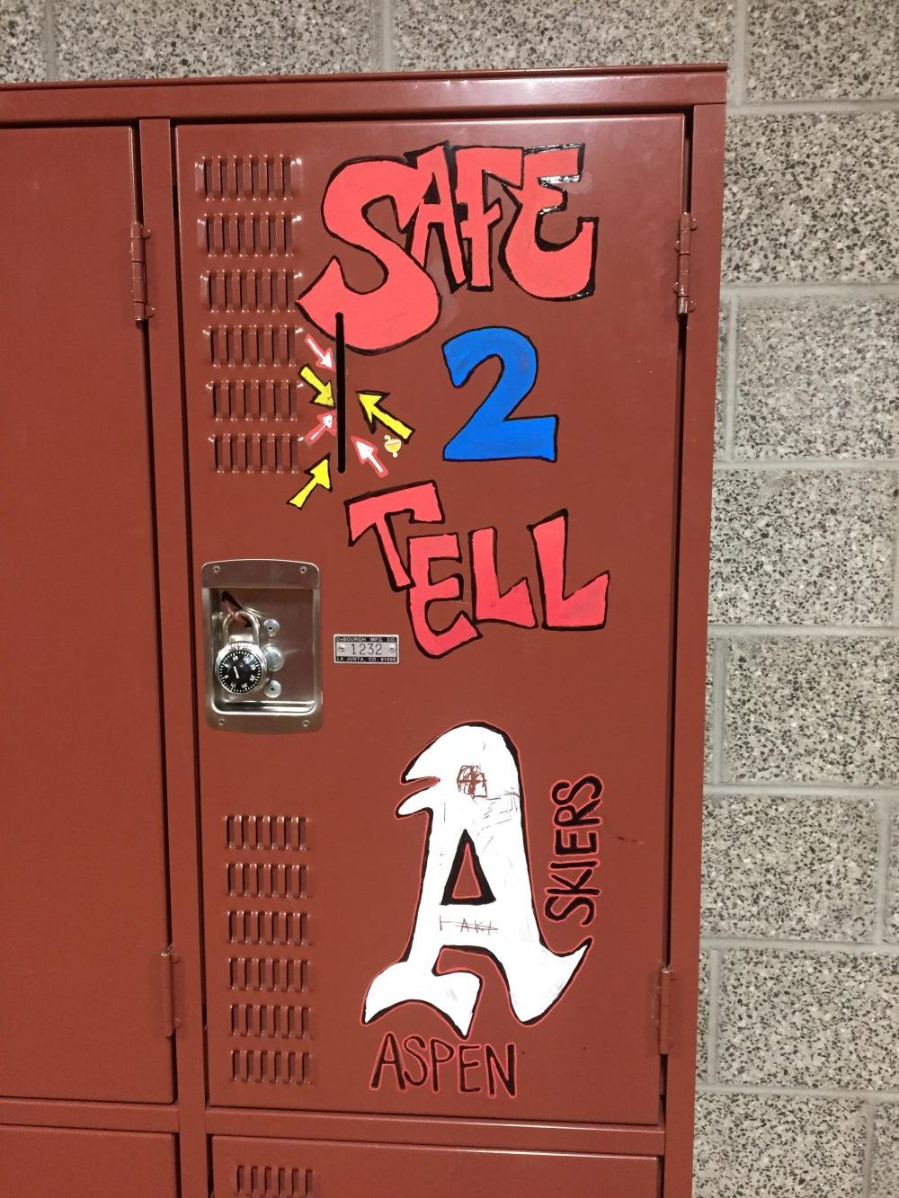 The Safe to Tell Locker near the weight room