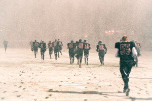 The blizzard came in right as the buzzer sounded at the homecoming football game on September 28.
