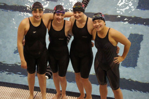 (from left to right) Kelcie, Kelli Callahan, Nina Christensen, and Claire Collier at the 2013 Western Slope Regional Championships. This was out 4x100 free relay