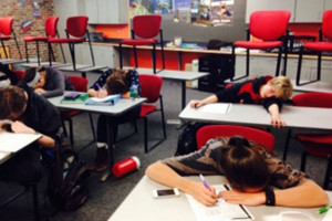 Students dozing off during spanish class missing important material.