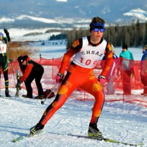 Senior Scotty Houtsma skis at Nordic States in the winter of 2013. He pushes to lower his time in order to be a good candidate when it comes to Skimeister's States.