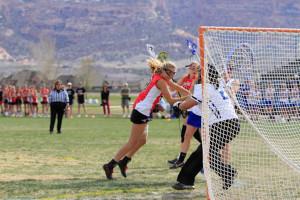 Senior Shannon Turbidy scoring her way into a win.
