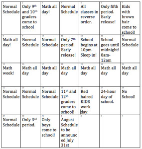 AHS Releases Simplified Schedule for July 2014