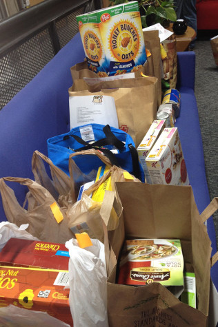 Some of the food collected by AHS students for the holiday food drive.