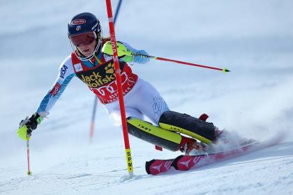 U.S. racer, Mikaela Shiffrin, on her way to winning a Slalom race in Aspen in 2015.