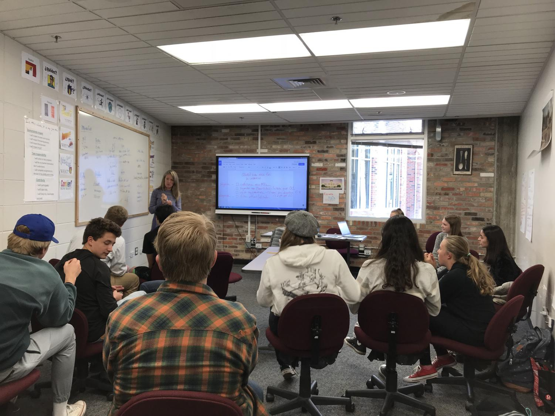 Jane Larson teaching her 7th period class.