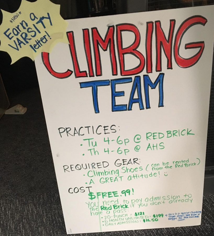 AHS+Climbing+Team+schedule+and+information