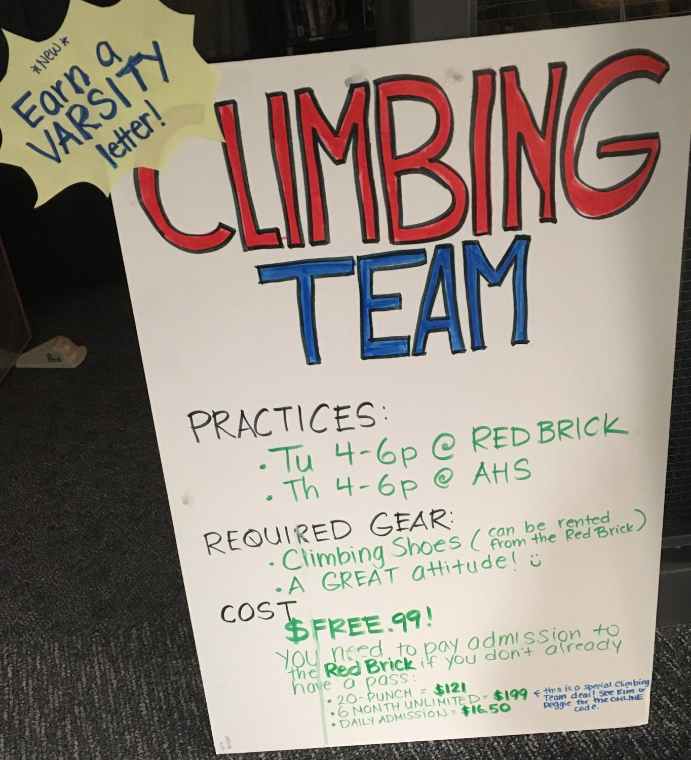 AHS Climbing Team schedule and information