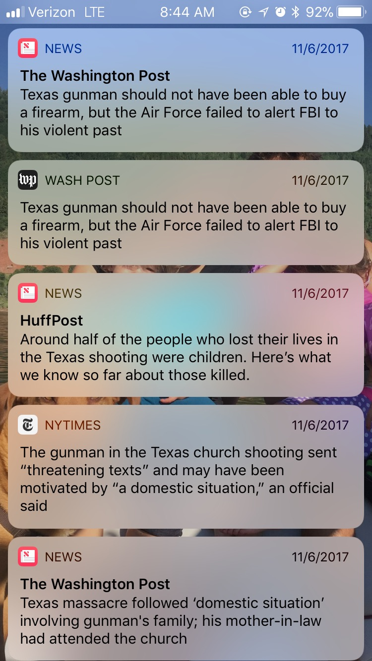 News reminders after the Texas shooting