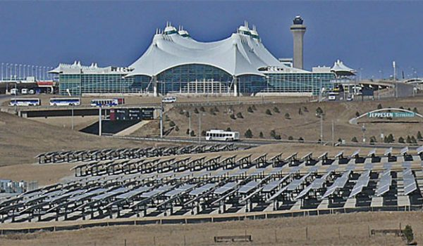 The Denver Airport from the distance.
