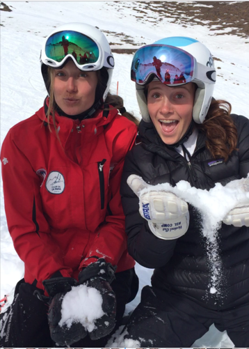 Teammates Carolina Jimenez and Meagan Olson are both new to AVSC. They are pictured at La Parva, Jimenez's home mountain, last fall.