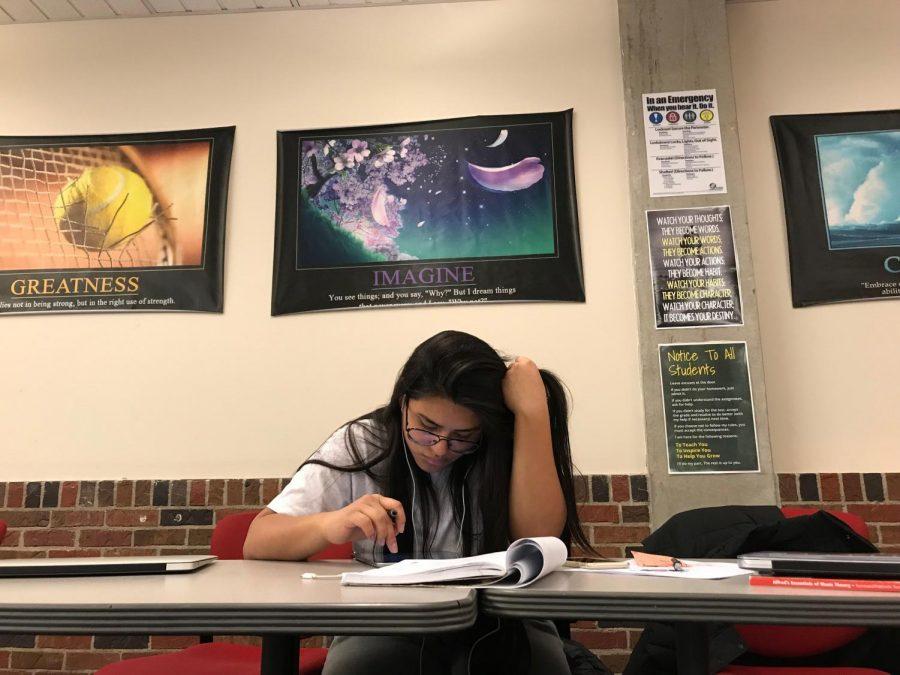 Andrea Gallegos, freshman, studies for her finals in Karen Zohar's Freshman Seminar class.