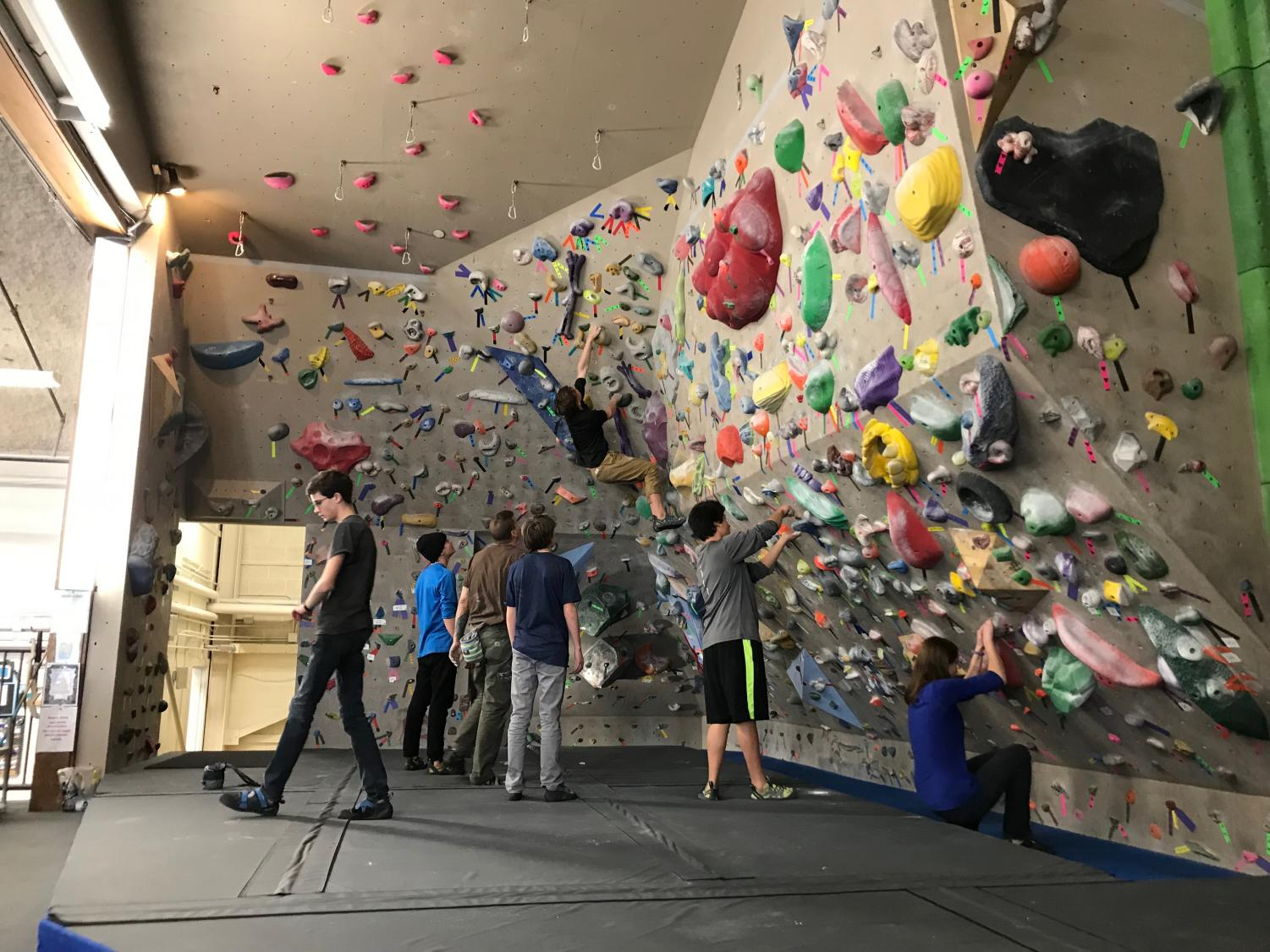 High school climbers training after school.