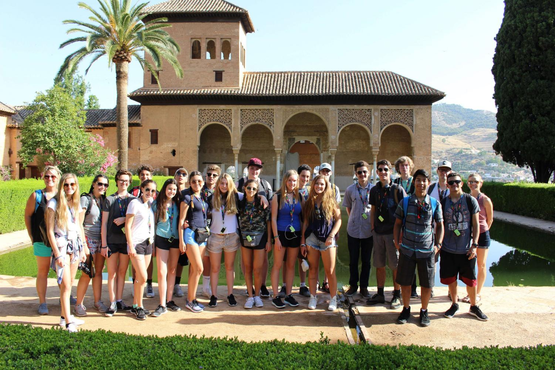 AHS students on Joey Dziedzic's trips, posing in Granada, Spain.