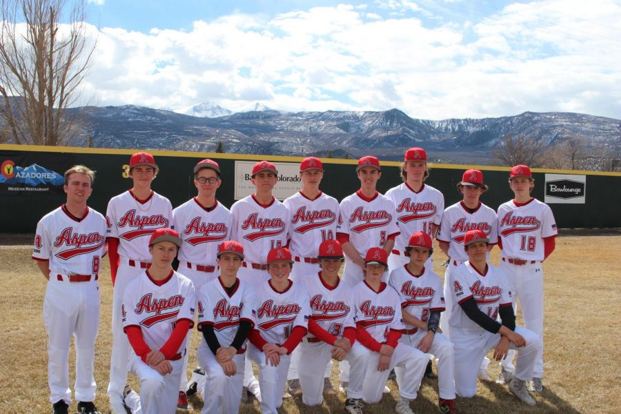 The AHS baseball team poses for a team picture on Crawford Field in El Jebel.