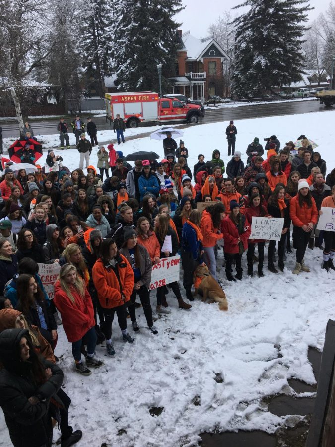 Students at the march stand in the snow protesting for school safety.