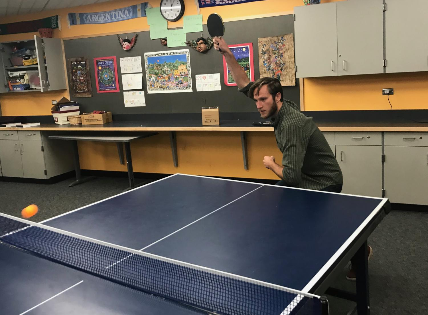 Eric Lamb playing Table Tennis.
