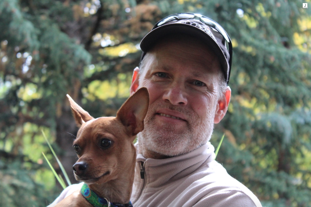 Founder Rob Horning with his dog Dipstick