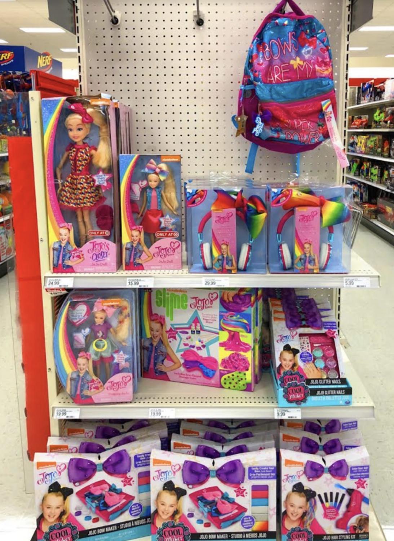 Array of Jojo products sold at Target in Glenwood, CO. Display includes Jojo doll, Jojo bows, and the Jojo slime kit.