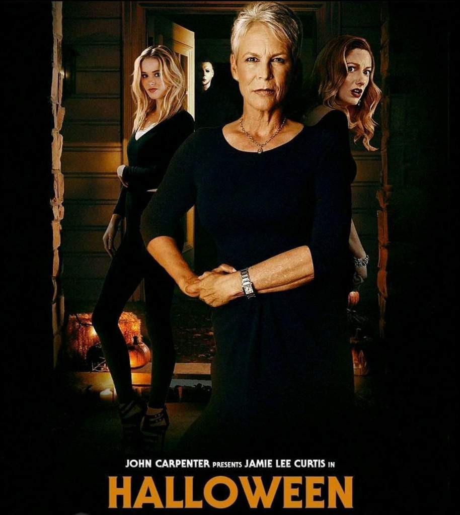 The cover of the new Halloween movie that pictures the characters of the movie.