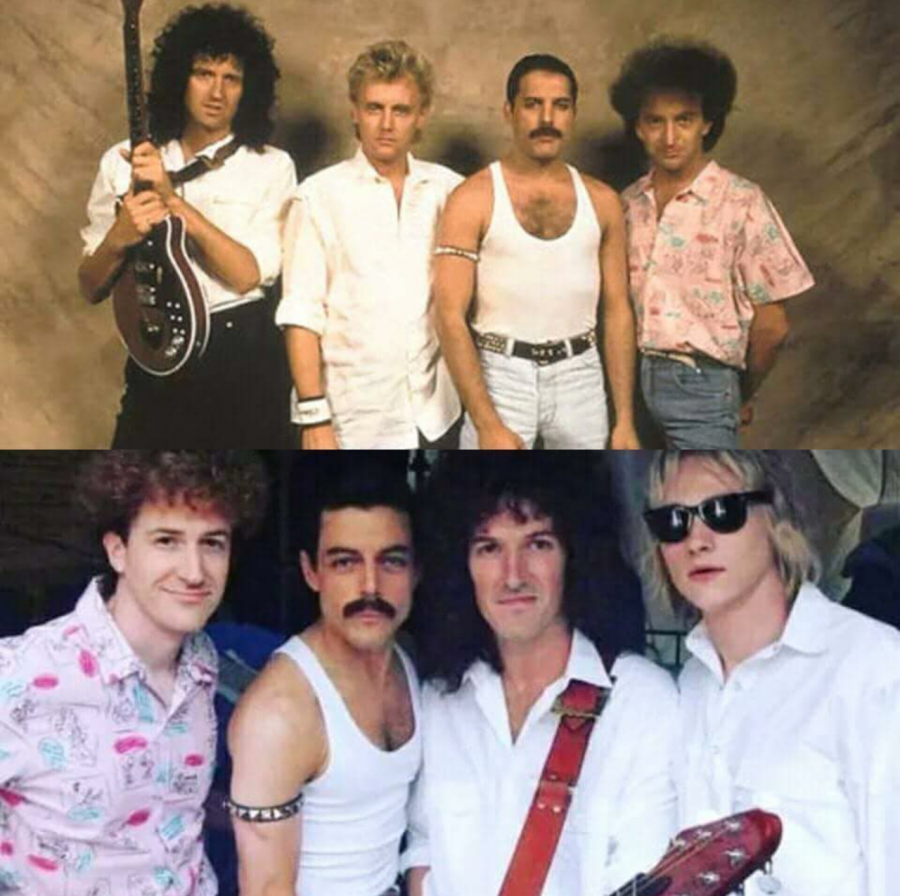 The+original+band+members+of+Queen+%28top%29+compared+to+the+cast+of+Bohemian+Rhapsody+%28bottom%29.