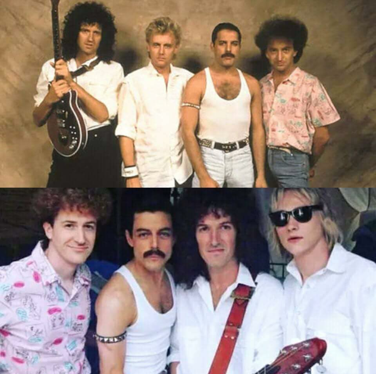 The original band members of Queen (top) compared to the cast of Bohemian Rhapsody (bottom).