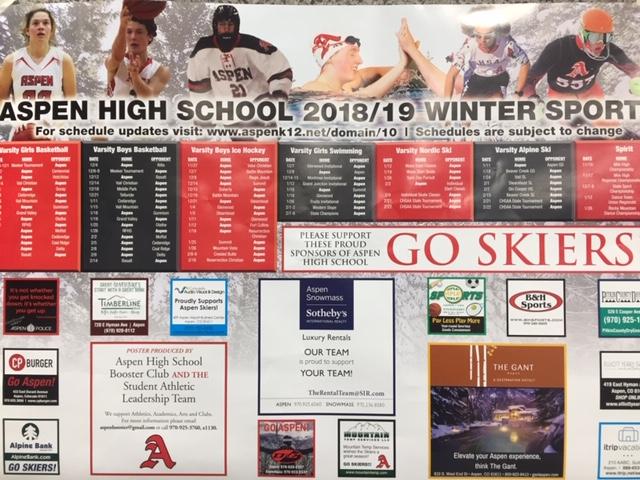 Booster Club posters that hang in the halls of Aspen High.
