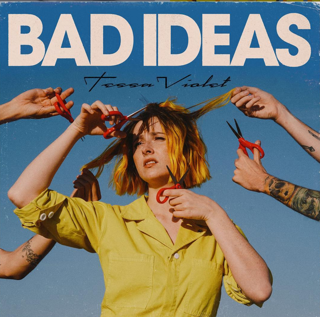 A promotional picture of the Bad Ideas music video posted by Tessa Violet.