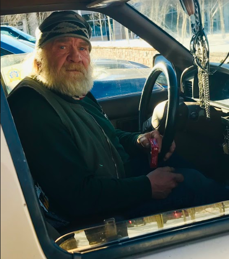 Local homeless man, James Hoge, driving to the Aspen Homeless Shelter.