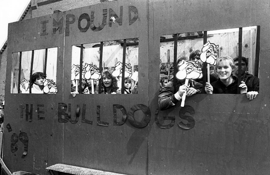 Aspen High's sophomore class in 1986, just before their homecoming float was burnt down by the senior class as an act of hazing. The photo is in the October 2, 1986 Aspen Times, p. 1C.