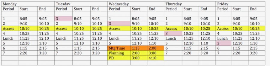 The adjusted schedule during the two week trial.
