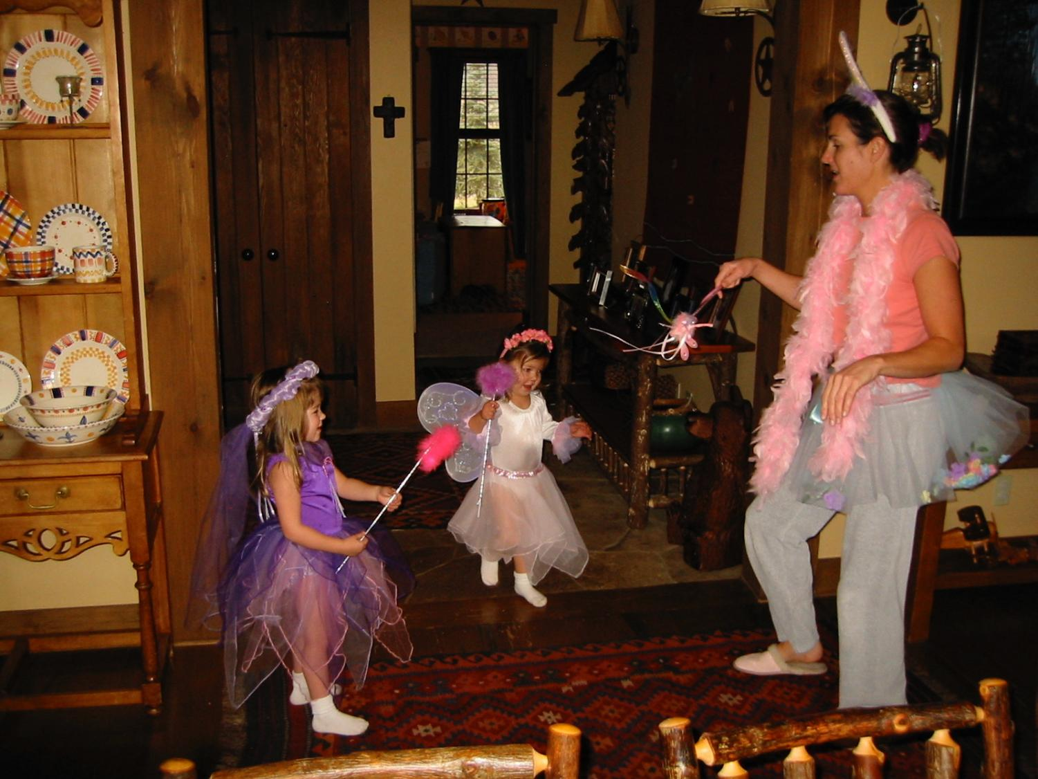 Mother of two, Kristin Yeary, dancing in a full fairy costume just to please her daughters.
