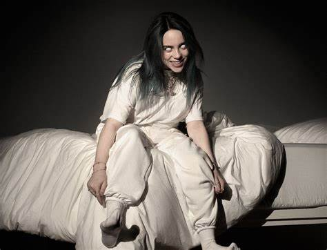 "Billie Eilish's album cover for ""WHEN WE ALL FALL ASLEEP, WHERE DO WE GO?""."