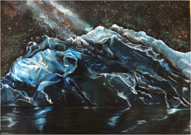"Estelle Sweeney's favorite oil pastel painting of an iceberg named ""Melted"". This painting represents melting icebergs and climate change."