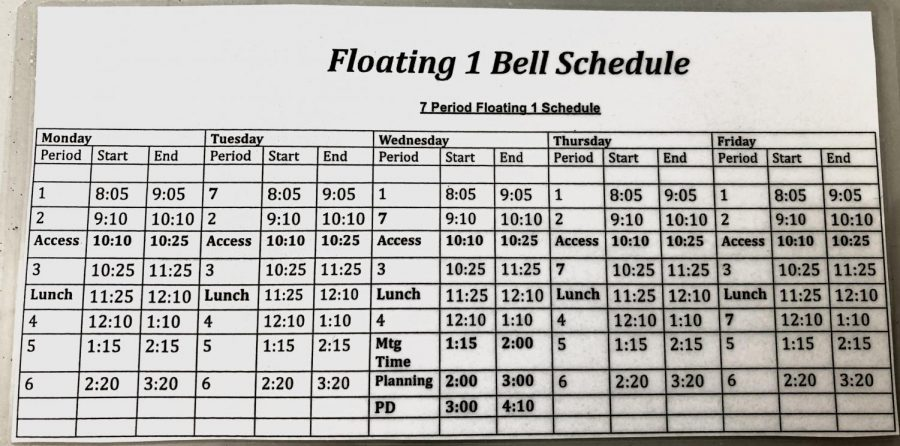 Photo of the new Floating Bell Schedule for the 2019-2020 school year.