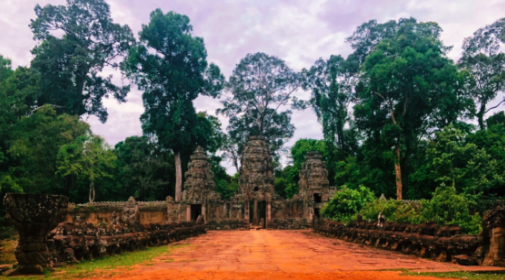 Moss+covered+entrance+to+temple+ruins+in+Siem+Reap%2C+Cambodia%2C+hidden+in+lush+greenery.%0A