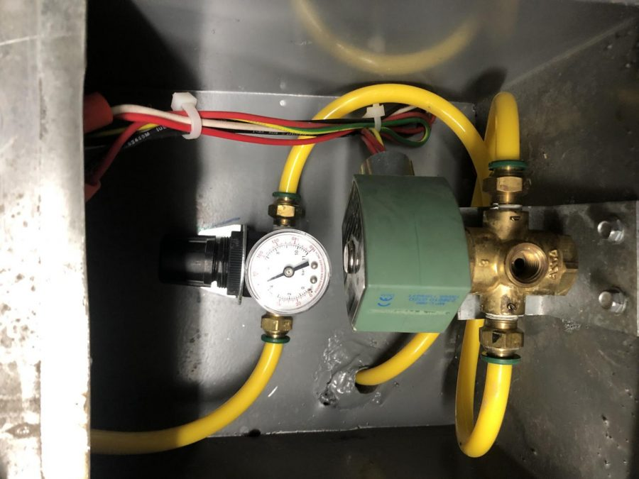 A photo of the air leak in AHS's heating system.