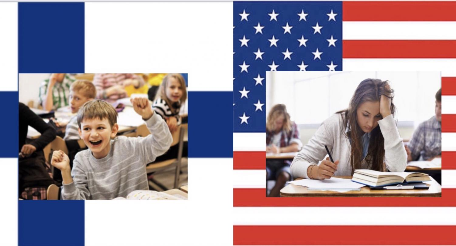 Finnish student thriving in their school environment (left). American student stressed out (right).