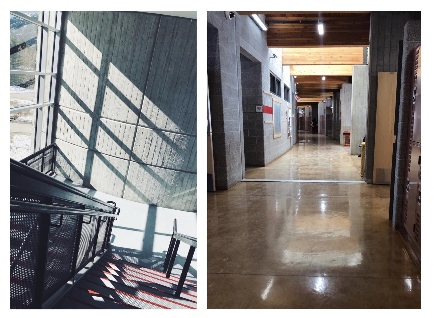 The hallway and the stairs are two places at AHS where students can take a break during the day.