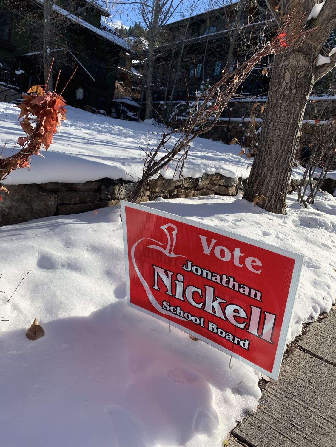 A campaign sign for Jonathan Nickell, one of the candidates who was elected to the board, in Aspen on a recent afternoon.