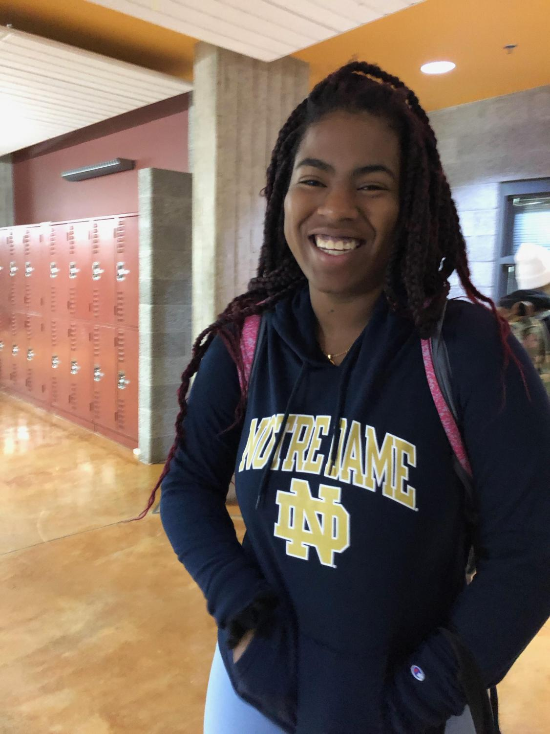 Climary Sanchez wears her Notre Dame sweatshirt after being matched to the University through the QuestBridge scholarship.