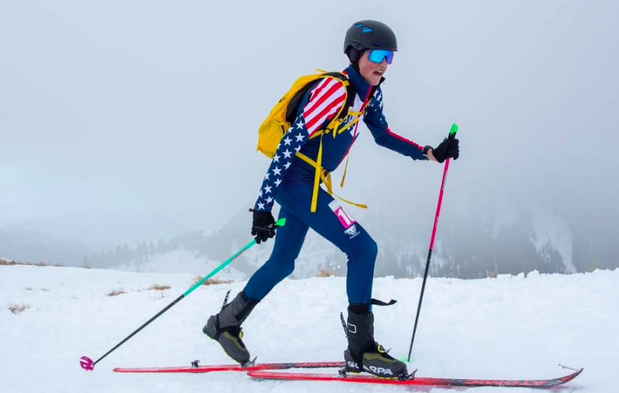 George Beck skinning up in the latest skimo Youth Olympic Race in Switzerland, on team USA.