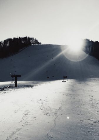 The sun shines on Thunderbowl during ski team training in early January.
