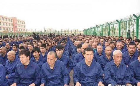 An undated file photo of Uighurs being held at a detention center in Xinjiang, China.