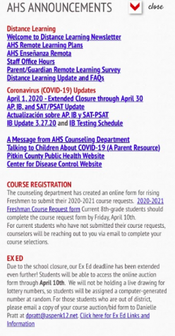 Aspen High School announcements located on the aspenk12.net website. AS of April 7th.