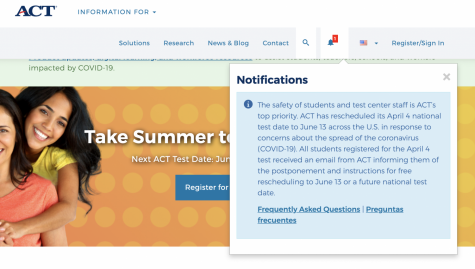 Image of the ACT.org homepage showing the test day changes due to COVID-19.